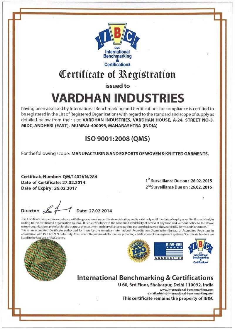 Certifications vardhan industries manufacturers and exporters certifications vardhan industries manufacturers and exporters of woven and knitted garments xflitez Images